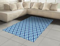 Mavi Beyaz Geometrik Desenli Halı (Kilim) Dekoratif