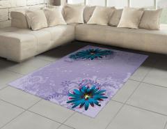Mavi Mor Çiçek Desenli Halı (Kilim) Şık Tasarım