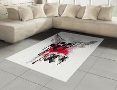 Kanatlı Kuru Kafa Desenli Halı (Kilim) Siyah Beyaz