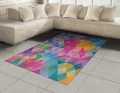 Rengarenk Üçgen ve Kareler Halı (Kilim) Geometrik