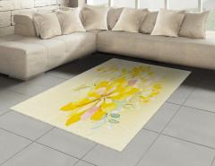 Sarı Sulu Boya Çiçekler Halı (Kilim) Dekoratif