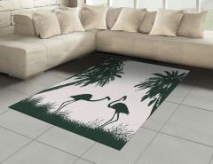 Siyah Beyaz Flamingo Desenli Halı (Kilim) Şık Tasarım