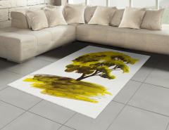 Meşe Ağacı Desenli Halı (Kilim) Dekoratif Yeşil