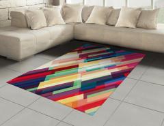 Fütüristik Geometrik Desenli Halı (Kilim) Rengarenk