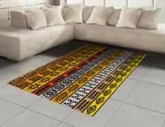 Etnik Afrika Motifleri Halı (Kilim) Kahverengi