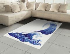 Fırtınalı Denizin Dalgaları Halı (Kilim) Mavi Beyaz