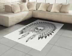 Kızılderili Kuru Kafa Halı (Kilim) Siyah Beyaz