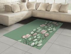 Yeşil Çiçekler ve Yaprakları Halı (Kilim) Dekoratif