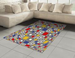 Mozaik Kareler Desenli Halı (Kilim) Geometrik Şık
