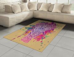 Hint Desenli Mor Fil Halı (Kilim) Dekoratif
