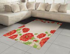 Pembe Kırmızı Çiçekler Halı (Kilim) Dekoratif