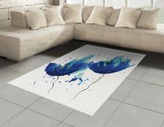 Sulu Boya Mavi Çiçekler Halı (Kilim) Sanatsal