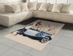 Keman Çalan Kız Desenli Halı (Kilim) Klasik Otomobil