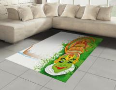 Kathakali Dansçısı Desenli Halı (Kilim) Yeşil Tekne
