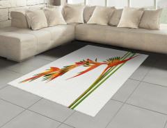 Tropikal Çiçek Desenli Halı (Kilim) Turuncu Şık