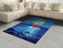 Denizdeki Yelkenli Gemi Halı (Kilim) Yağlı Boya Mavi