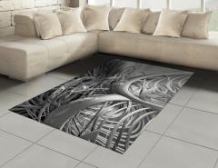 Gri Fütüristik Desenli Halı (Kilim) 3D Etkili