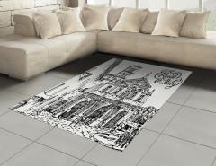 İtalya Mimarisi Desenli Halı (Kilim) Siyah Beyaz