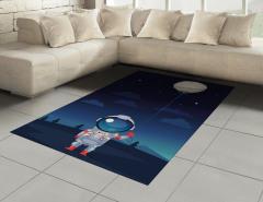 Balonlu Astronot Desenli Halı (Kilim) Gökyüzü Yıldız