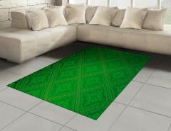Yeşil Duvar Kağıdı Desenli Halı (Kilim) Dekoratif