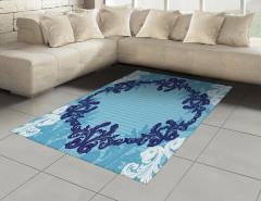Dekoratif Çiçek Desenli Halı (Kilim) Mavi Beyaz Şık