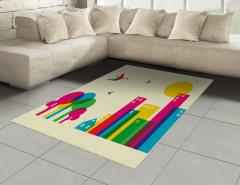Origami Kuşları Desenli Halı (Kilim) Rengarenk Şık