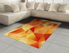 Turuncu Üçgen Desenli Halı (Kilim) Geometrik Şık
