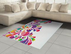 Rengarenk Çiçekler Halı (Kilim) Dekoratif Şık