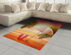 Şemsiyeli Plajda Gün Batımı Halı (Kilim) Turuncu