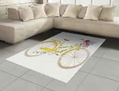 Çiçekli Sepetli Sarı Bisiklet Halı (Kilim) Dekoratif