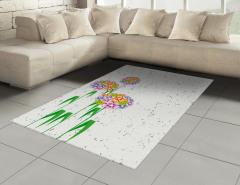 Rengarenk Kır Çiçekleri Halı (Kilim) Dekoratif Şık