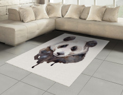 Sevimli Panda Desenli Halı (Kilim) Sulu Boya Şık