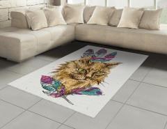 Rengarenk Tüylü Kedi Portresi Halı (Kilim) Trend