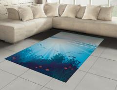Dalgalı Denizdeki Balıklar Halı (Kilim) Mercan Mavi