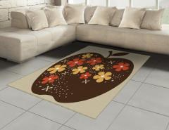 Kahverengi Elma Desenli Halı (Kilim) Çiçek Bej