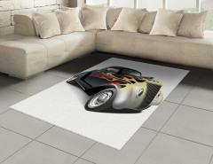 Siyah Şık Araba Desenli Halı (Kilim) Beyaz Fonlu
