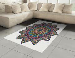 Şık İşlemeli Mandala Çiçeği Halı (Kilim) Dekoratif