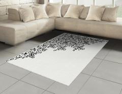 Siyah Beyaz Dekoratif Çiçekler Halı (Kilim) Şık