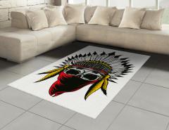 Kızılderili Kuru Kafa Desenli Halı (Kilim) Maskeli