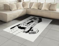 Stil İkonu Maymun Desenli Halı (Kilim) Siyah Beyaz