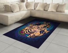 Flüt Çalan Krişna Desenli Halı (Kilim) Dekoratif Şık