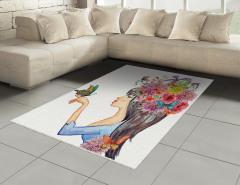 Siyah Saçlı Çiçekli Kız Halı (Kilim) Kelebek Şık