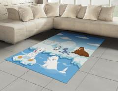 Kutup Hayvanları Desenli Halı (Kilim) Mavi Beyaz