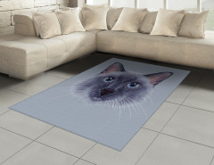 Mavi Gözlü Kedi Desenli Halı (Kilim) Dekoratif