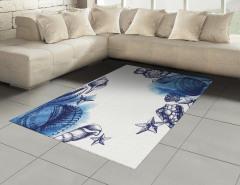 Mavi Deniz Kabuğu Desenli Halı (Kilim) Dekoratif