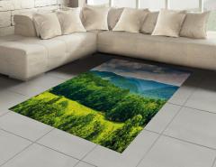 Yeşil Dağlar ve Gökyüzü Halı (Kilim) Orman Bulut