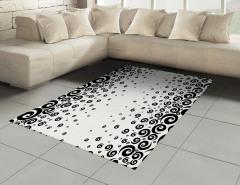 Siyah Beyaz Kıvrımlı Daireler Halı (Kilim) Dekoratif