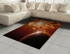 Kahverengi Gezegen Halı (Kilim) Bulut Uzay Işık