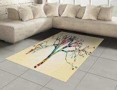 Rengarenk Ağaç Halı (Kilim) Krem Fonlu Dekoratif