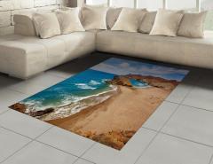 Bej Kumsal ve Kayalık Halı (Kilim) Deniz Gökyüzü